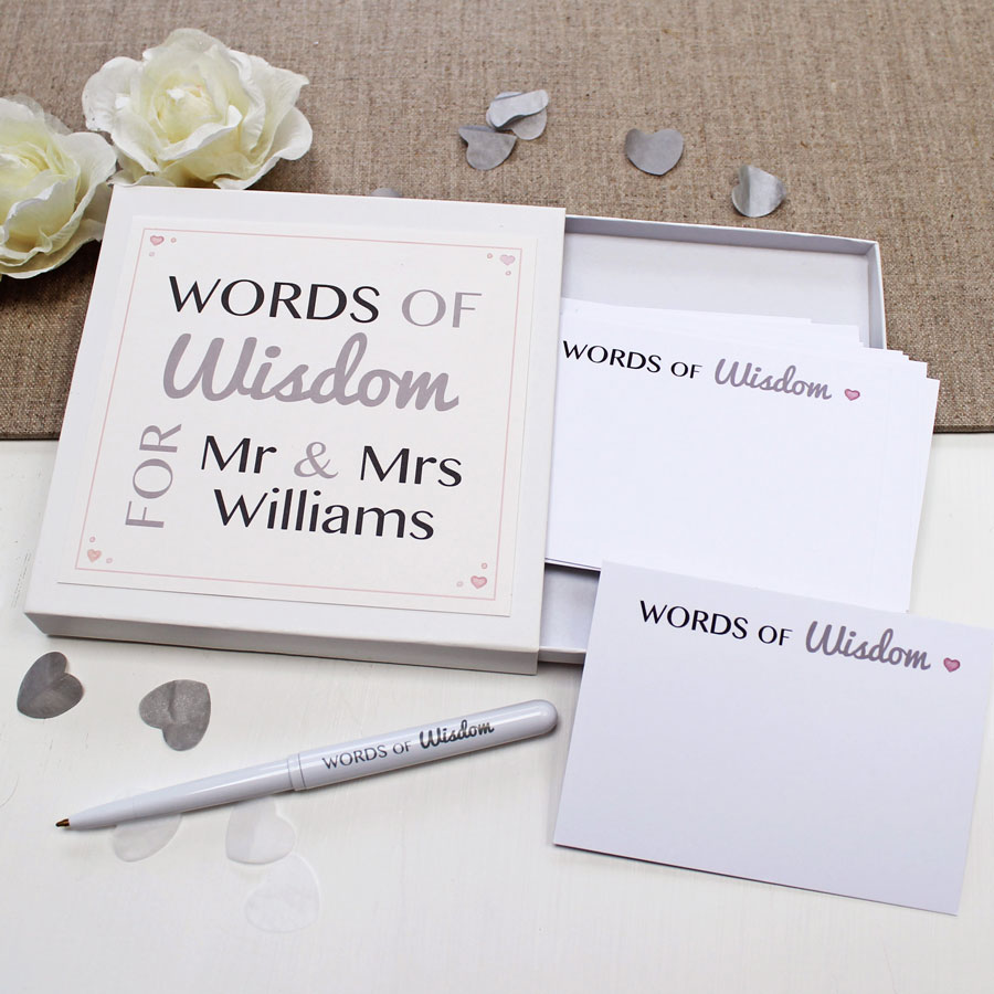 WEDDING GUEST WORDS OF WISDOM NOTES
