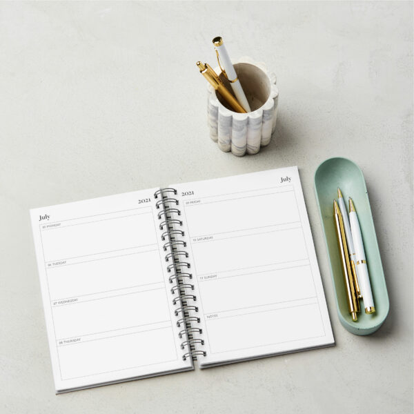 Martha Brook Mid-Year Diaries Inside Pages Hardback Wirebound A5 Customise stationery stylish
