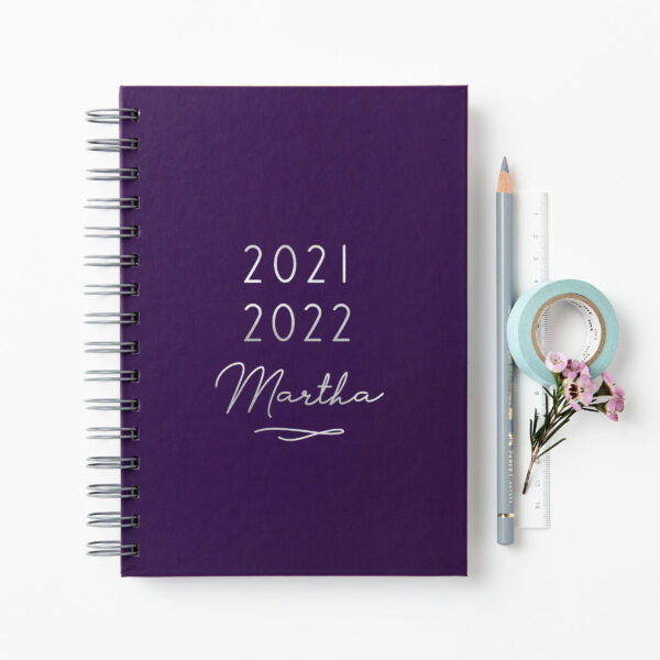 Martha-Brook-Personalised-Classic-2021-2022-Mid-Year-Academic-Diary-Silver-Foil-Purple-Wire-Bound-scaled.jpg