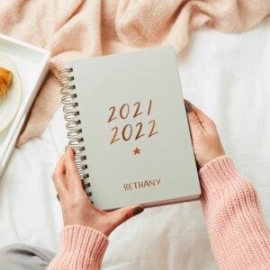 Martha-Brook-Personalised-Script-Mid-Year-Diary-2021-2022-Hardback-Grey-A5-Stationery-Academic-scaled.jpg