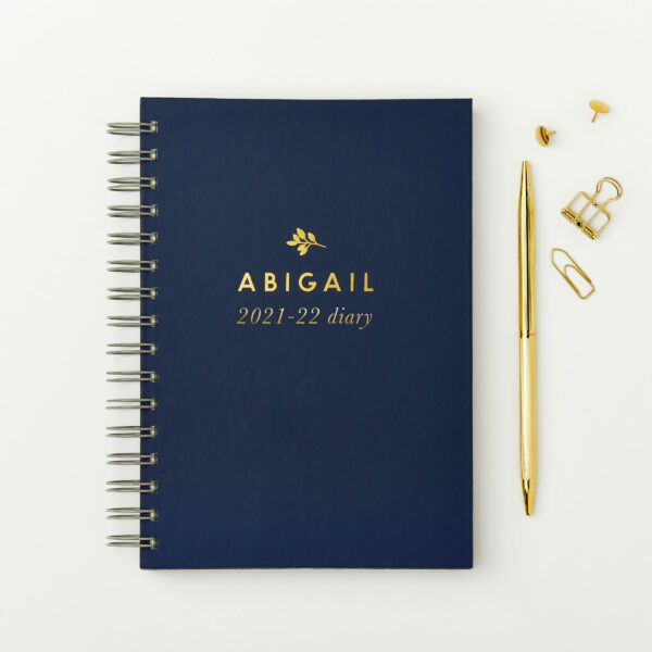 Martha-Brook-Personalised-Traditional-Mid-Year-Diary-2021-2022-Academic-Blue-Hardcover-Gold-Foiling-A5