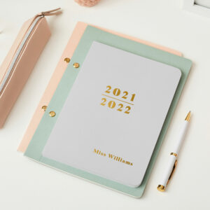 Martha-Brook-Personalised-Prime-2021-2021-Midyear-Academic-Softback-Diary-Pebble-Gold-Foiling
