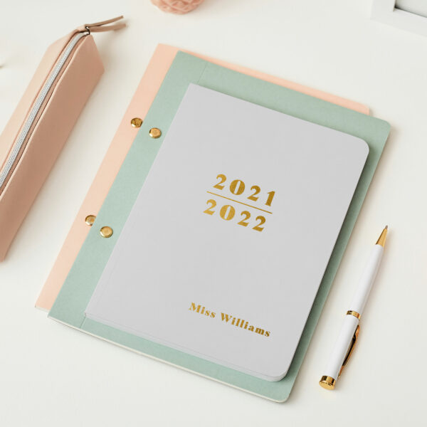Martha-Brook-Personalised-Prime-2021-2021-Midyear-Academic-Softback-Diary-Pebble-Gold-Foiling