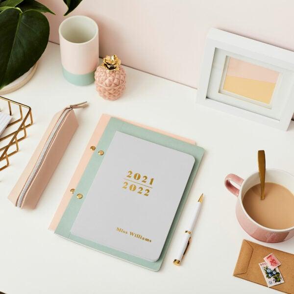Martha-Brook-Personalised-Prime-2021-2021-Midyear-Academic-Softback-Diary-Pebble-Gold-Foiling-Stationery