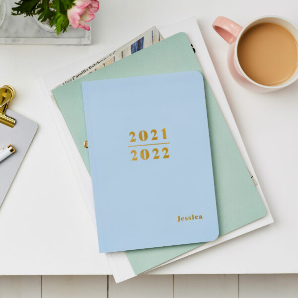 Martha-Brook-Personalised-Prime-2021-2021-Midyear-Academic-Softback-Diary-Skyblue-Gold-Foiling