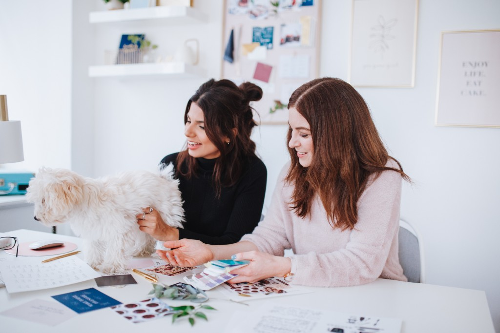 Great British Bake Off 2018 finalist Ruby Bhogal with her dog Milo and Martha Keith founder of Martha Brook