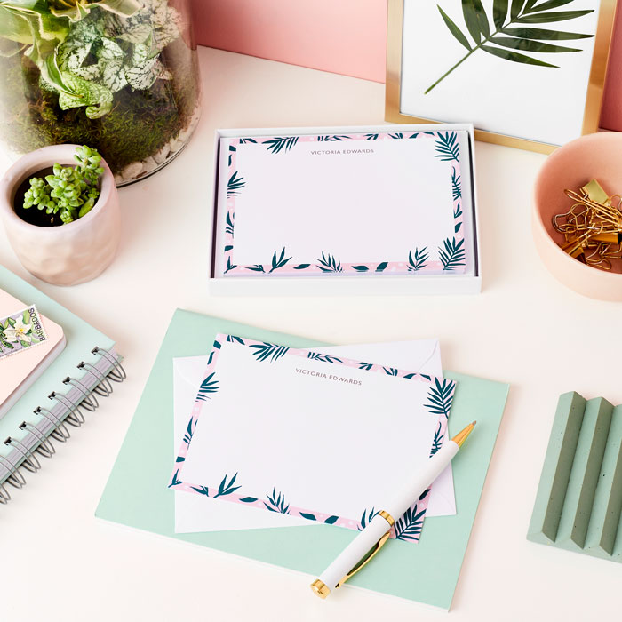 Martha-Brook-Kew-Notecards-Benefits-of-Letter-Writing-green-And-pink-palms