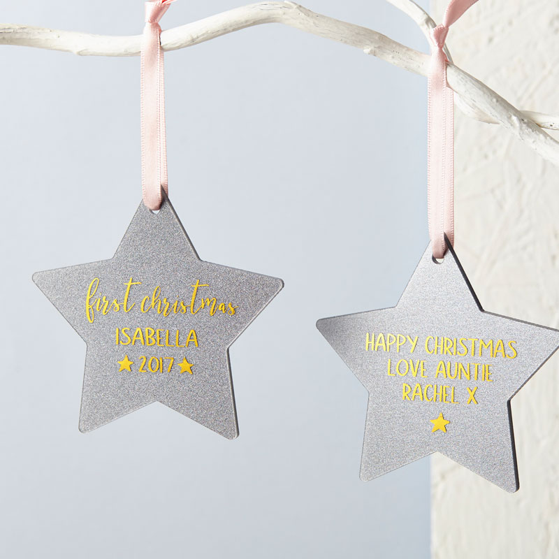 Baby's First Christmas Glitter Star Decoration