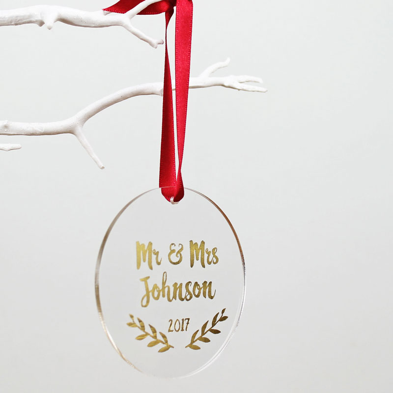 Mr and Mrs First Christmas Foiled Decoration
