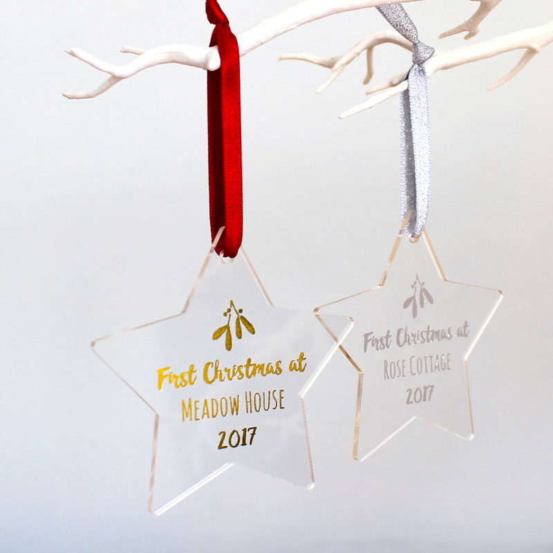 First Home Foiled Star Christmas Decoration