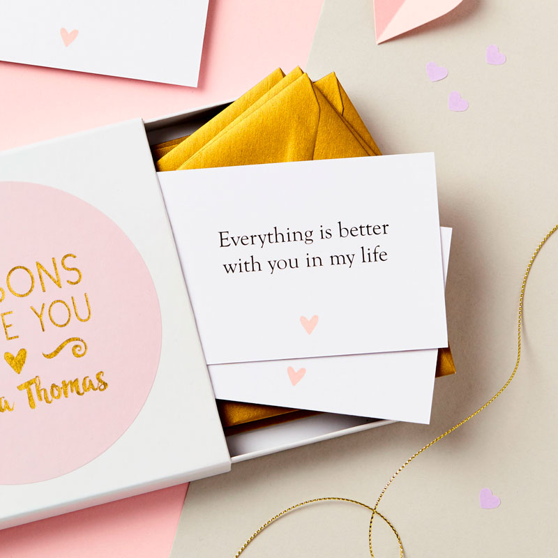 Foiled Reasons I Love You Notes