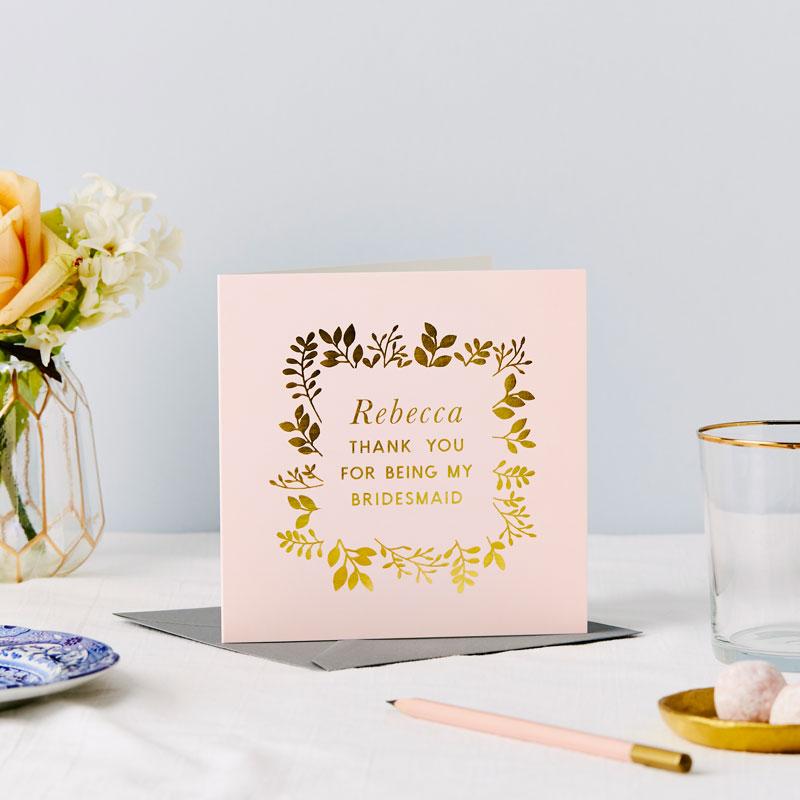 Thank you Bridesmaid Foiled Card