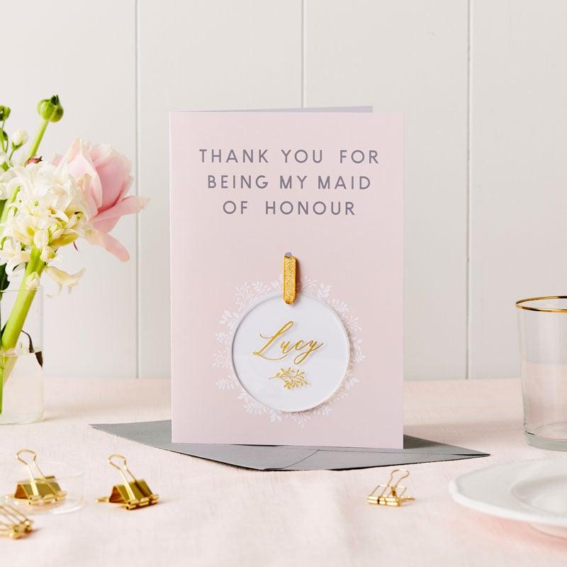 Thank you Maid of Honour Keepsake Card