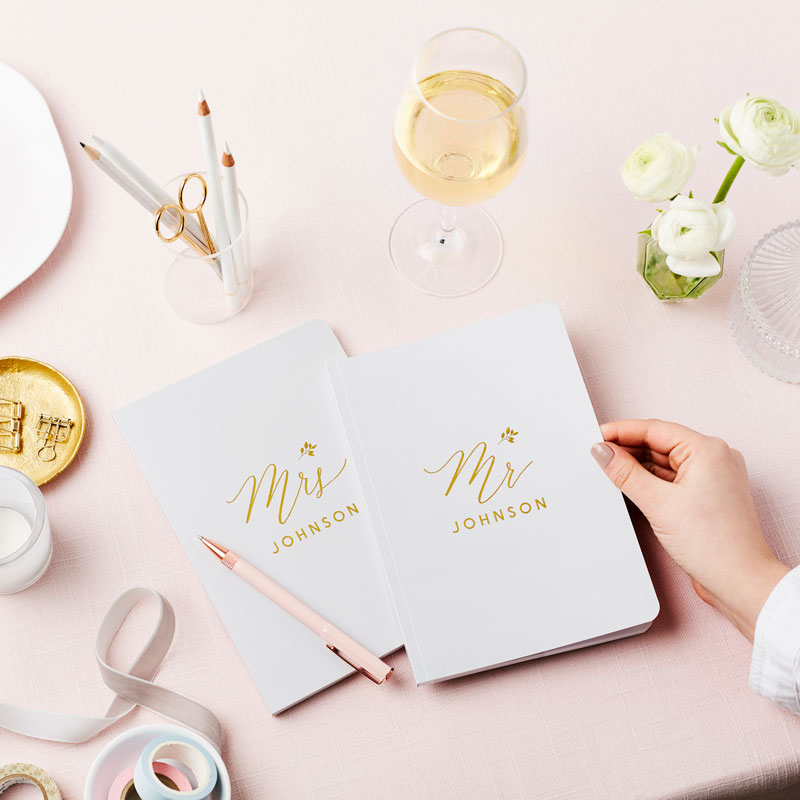 Mr and Mrs Foiled Notebook Pair