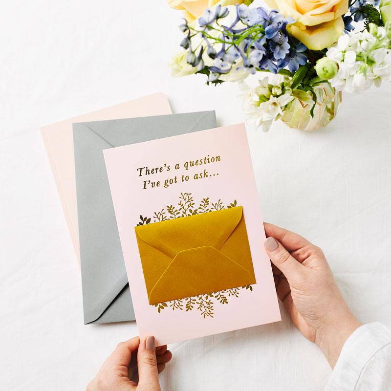Be My Flower Girl Foiled Secret Message Card