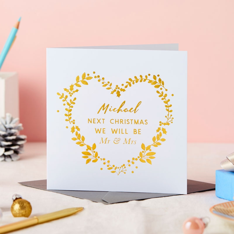 Personalised Fiancé Christmas Foiled Card
