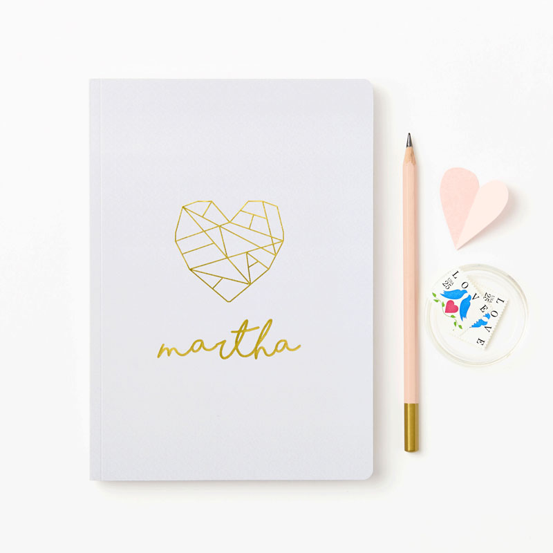 Geometric Heart Foiled Notebook