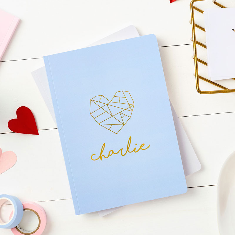 Geometric Heart Foiled Notebook