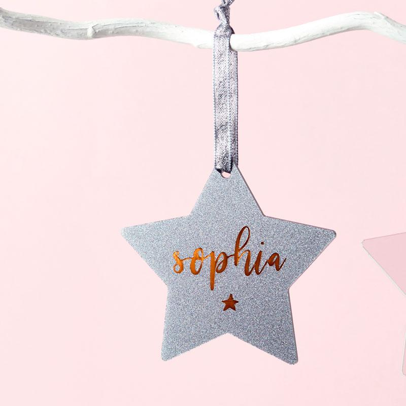Glitter Star Decoration Christmas Card