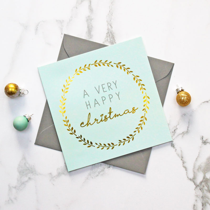 'Happy Christmas' Foiled Greeting Card