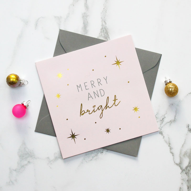 'Merry and Bright' Foiled Christmas Card