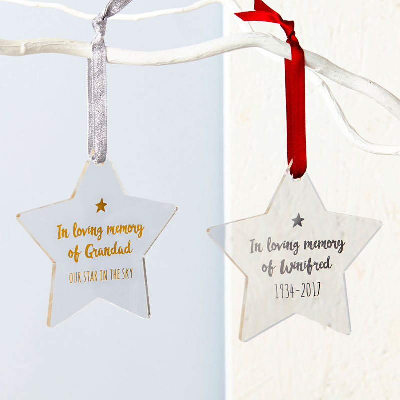 In Loving Memory Foiled Star Decoration