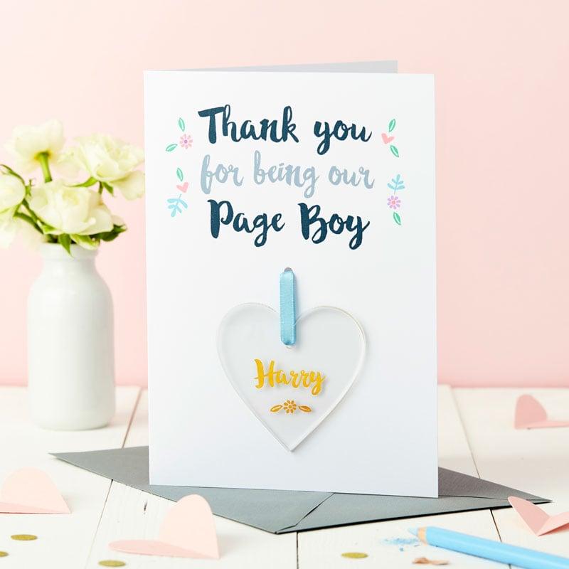 Page Boy Keepsake Thank You Car