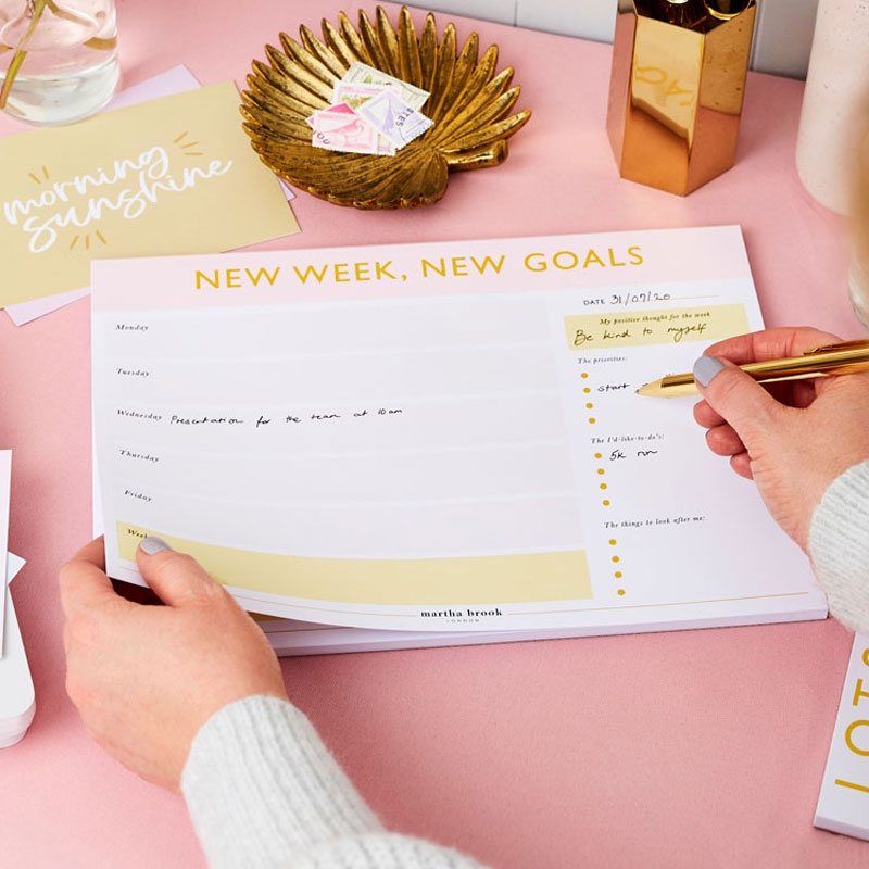 New Goals Weekly Planner Desk Pad