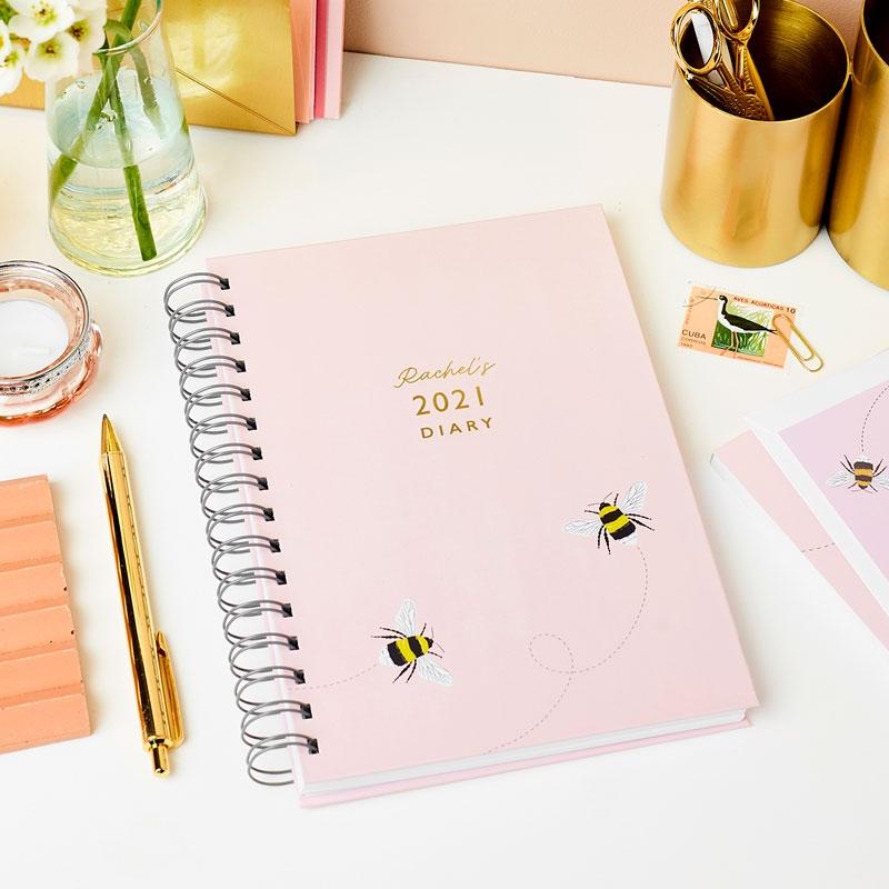 Personalised Bee Hardback Diary