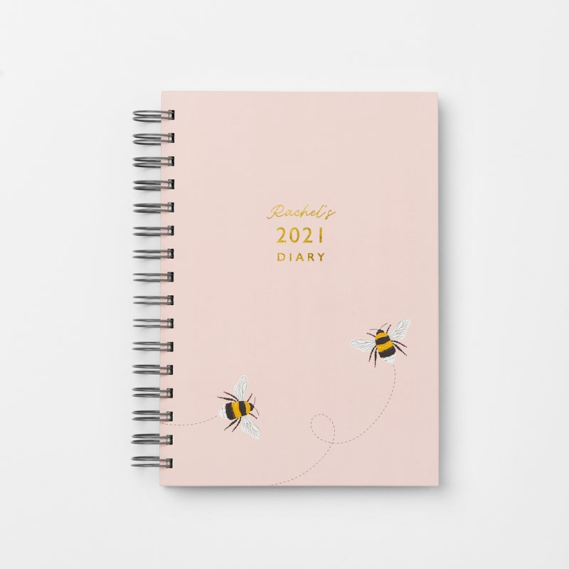 Personalised Bee Hardback Diary