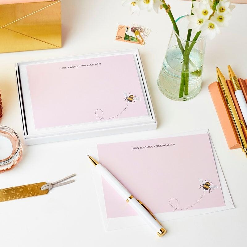 Personalised Bee Notecard Gift Set
