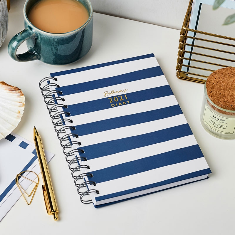 Personalised Breton Stripes 2021 Diary