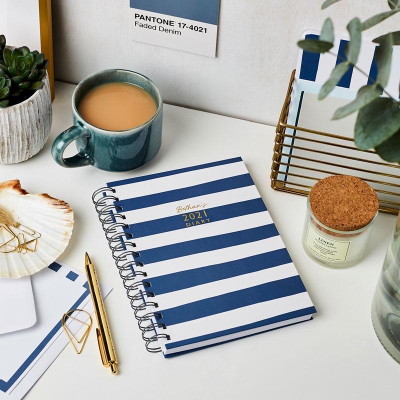 Personalised Breton Stripes 2021 Diary