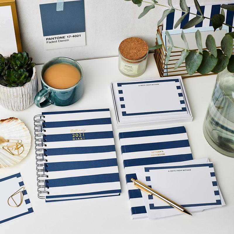 Personalised Breton Stripes Softback Notebook
