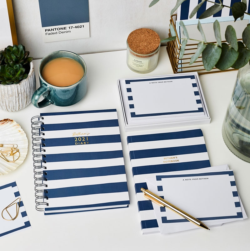 Personalised Breton Stripes Stationery Gift Set