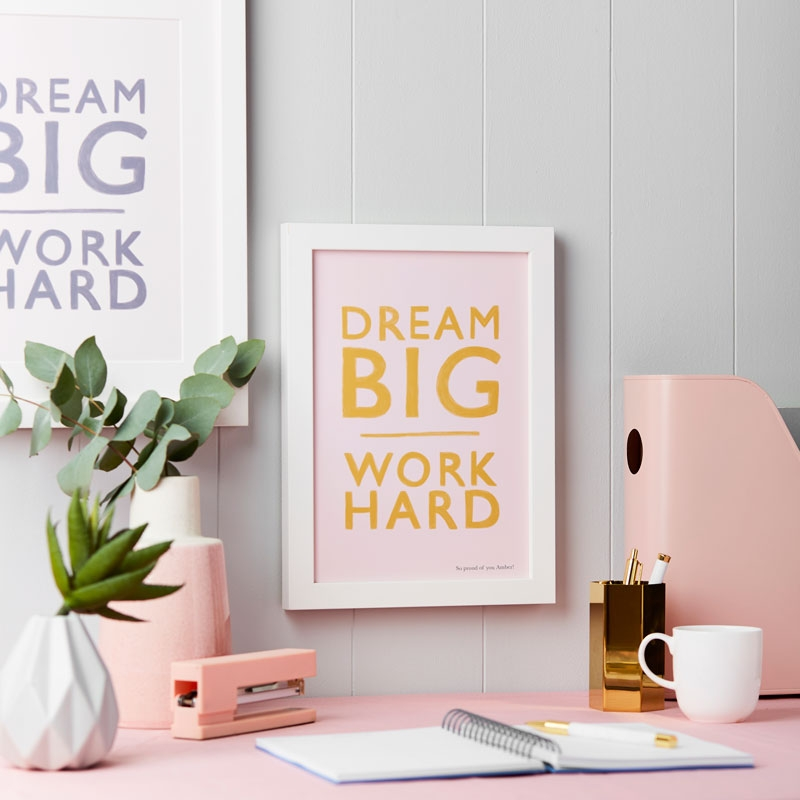 Personalised Dream Big Work Hard Art Print