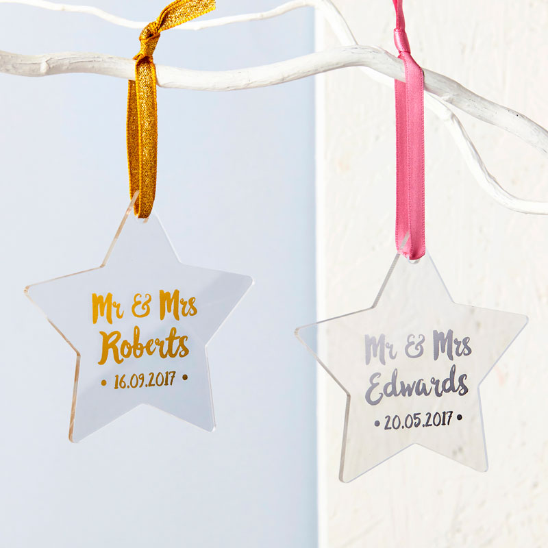 Mr And Mrs First Christmas Foiled Star Decoration