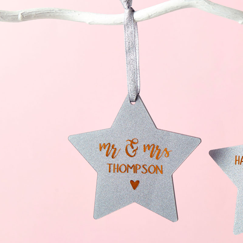 Mr and Mrs First Christmas Star Decoration Card