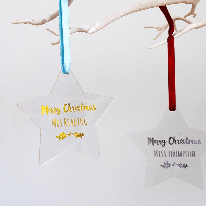Teacher's Foiled Star Christmas Decoration