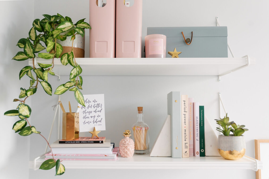 Beautiful styled pink shelves