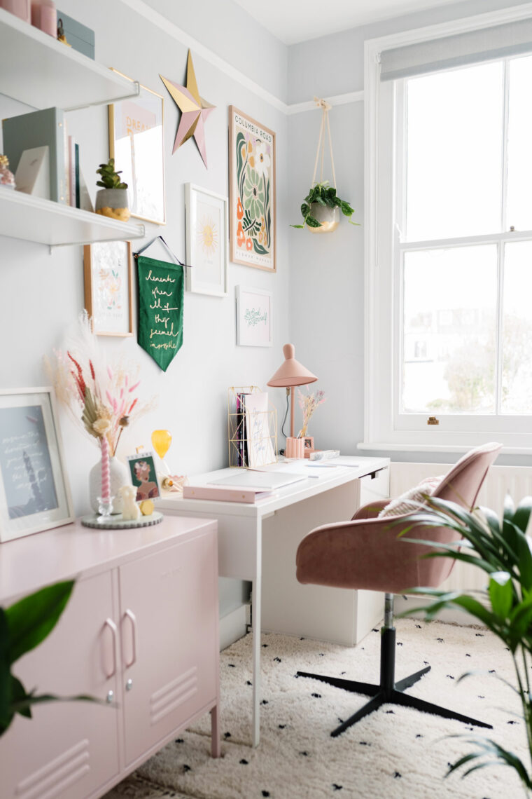Beautifully bright small home office with pink and green touches