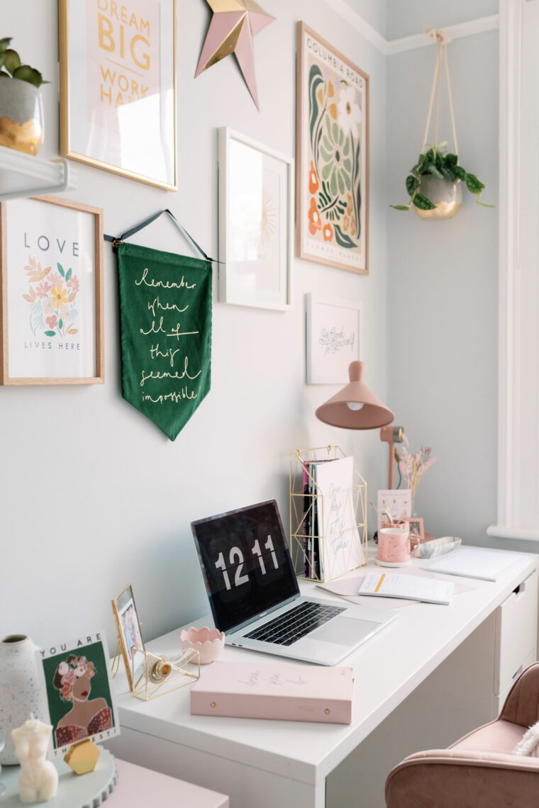 Small Home Office Makeover Pretty Desk with Gallery Wall