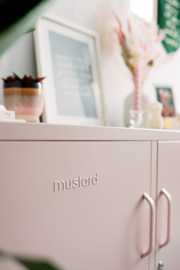 Blush pink mustard locker