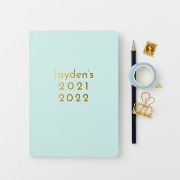Martha-Brook-Personalised-Absolute-2021-2022-Mid-Year-Academic-Diary-Mint-Green-Gold