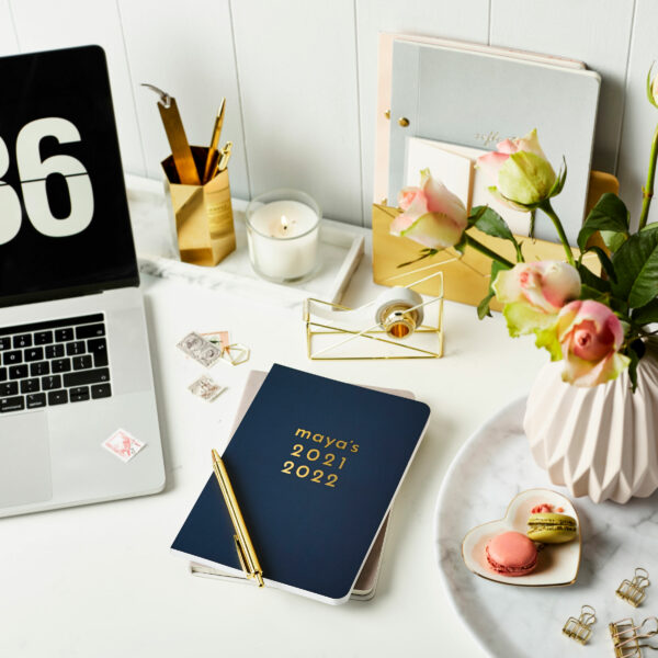 Martha-Brook-Personalised-Absolute-2021-2022-Mid-Year-Academic-Diary-Navy-Midnight-Blue-Desk-Gold-Accessories
