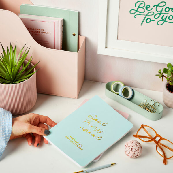 Martha-Brook-Personalised-Good-Things-Mid-Year-Academic-Diary-2021-2022-Mint-Green-Pretty-Desk