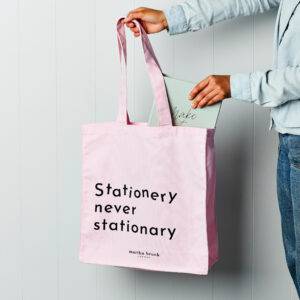 Martha-Brook-Stationery-never-stationary-canvas-shopper-bag-pink-tote-cotton