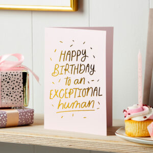 Martha Brook Exceptional Human-Birthday Card Gold Foil Embossed Blank