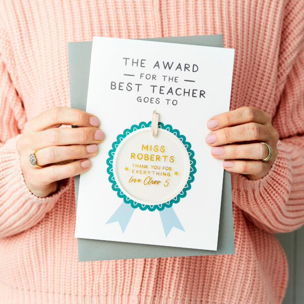 Personalised Best Teacher Award Keepsake Card