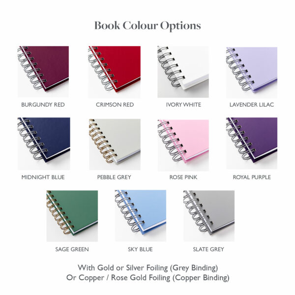 Choice of colours in Martha Brook wedding guest books